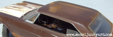 1965 Ford Galaxy 500 detail inside with rusted floor