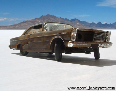 1965 Ford Galaxy 500 junk model car on salt desert