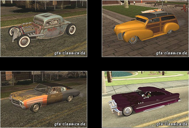 Post image for Classic cars, customs, hotrods, ratrods & beaters for GTA San Andreas and Vice City
