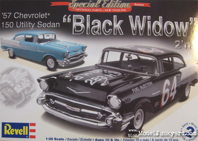 Post image for 1/25 Revell – 1957 Chevy 150 Utility Sedan & BlackWidow Race Car