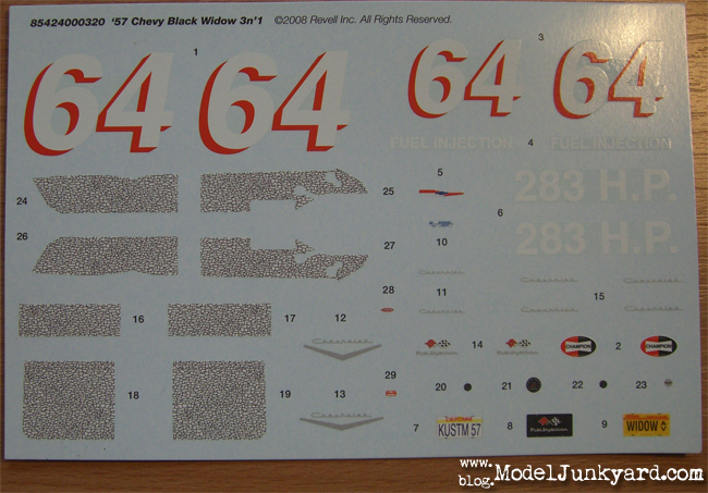 Kit Review - Chevy 57 Black Widow - Decals