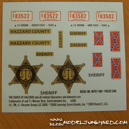 Dodge Monaco Dukes of Hazzard Roscoe's Police Car - Decals