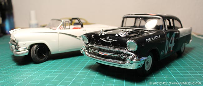 Post image for 57 Chevy Black Widow Stock Car – Decals on and some weathering tests