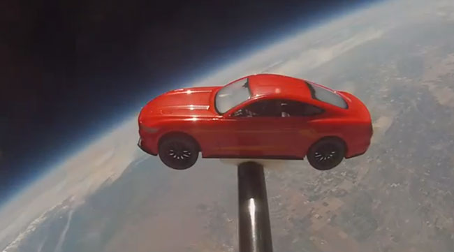 Post image for Launching a Ford Mustang model car to space [video]